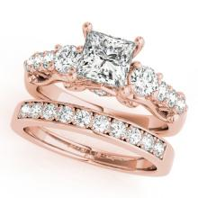 2.1 CTW Certified VS/SI Diamond 3 Stone Princess Cut 2Pc Set 14K Gold - REF-507F3M - 32028