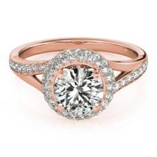1.6 CTW Certified VS/SI Diamond Solitaire Halo Ring 18K Rose Gold - REF-390N9A - 26827