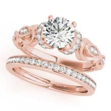 1.4 CTW Certified VS/SI Diamond Solitaire 2Pc Wedding Set Antique 14K Gold - REF-384R7K - 31476