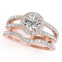 1.51 CTW Certified VS/SI Diamond 2Pc Wedding Set Solitaire Halo 14K Gold - REF-228R9K - 30880
