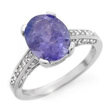 4.50 CTW Tanzanite & Diamond Ring 18K White Gold - REF-148A2N - 14415