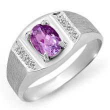 2.0 CTW Amethyst Ring 18K White Gold - REF-51A8N - 12427