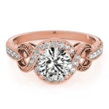 0.8 CTW Certified VS/SI Diamond Solitaire Halo Ring 18K Rose Gold - REF-125H3W - 26579