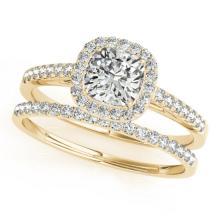 1.17 CTW Certified VS/SI Cushion Diamond 2Pc Set Solitaire Halo 14K Gold - REF-227F6M - 31393