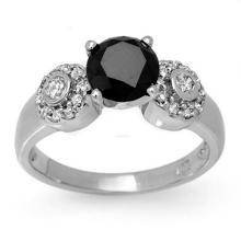 1.90 CTW VS Certified Black & White Diamond Ring 14K White Gold - REF-81W3H - 11860