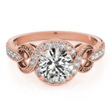 1.05 CTW Certified VS/SI Diamond Solitaire Halo Ring 18K Rose Gold - REF-198K9R - 26582