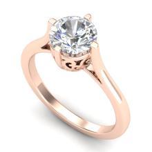 1.25 CTW VS/SI Diamond Solitaire Art Deco Ring 18K Gold - REF-490H9W - 37227