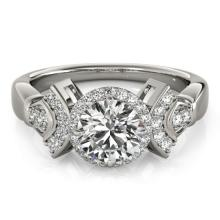 1.56 CTW Certified VS/SI Diamond Solitaire Halo Ring 18K White Gold - REF-506W9H - 26949