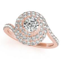 1.54 CTW Certified VS/SI Diamond Solitaire Halo Ring 18K Rose Gold - REF-228M5F - 27049