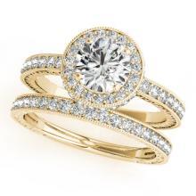 1.78 CTW Certified VS/SI Diamond 2Pc Wedding Set Solitaire Halo 14K Gold - REF-411K3R - 31255