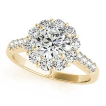 2.75 CTW Certified VS/SI Diamond Solitaire Halo Ring 18K Yellow Gold - REF-635N9A - 26292