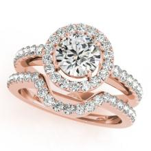 1.21 CTW Certified VS/SI Diamond 2Pc Wedding Set Solitaire Halo 14K Gold - REF-216N9A - 30778
