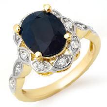 4.15 CTW Blue Sapphire & Diamond Ring 14K Yellow Gold - REF-50A9N - 14439