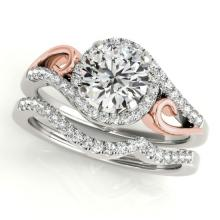 0.95 CTW Certified VS/SI Diamond 2Pc Set Solitaire Halo 14K Two Tone Gold - REF-130Y2X - 31199