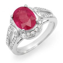 4.50 CTW Ruby & Diamond Ring 14K White Gold - REF-85F5M - 14541