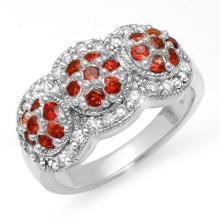 1.50 CTW Red Sapphire & Diamond Ring 14K White Gold - REF-76Y2X - 10655