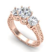 2.01 CTW VS/SI Diamond Solitaire Art Deco 3 Stone Ring 18K Gold - REF-527X3Y - 36930
