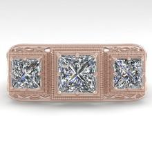 2 CTW Past Present Future VS/SI Princess Diamond Ring 18K Deco Gold - REF-481A7N - 36068