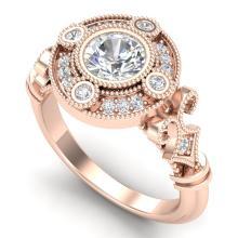 1.12 CTW VS/SI Diamond Solitaire Art Deco Ring 18K Gold - REF-250K2R - 36978