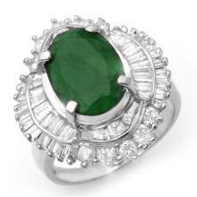 6.0 CTW Emerald & Diamond Ring 18K White Gold - REF-190K2R - 13068