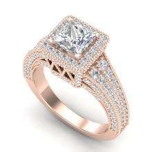 3.5 CTW Princess VS/SI Diamond Solitaire Micro Pave Ring 18K Gold - REF-581F8M - 37167