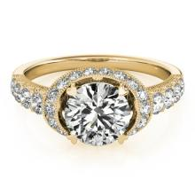 1.75 CTW Certified VS/SI Diamond Solitaire Halo Ring 18K Yellow Gold - REF-420M2F - 27026