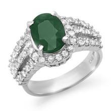 4.70 CTW Emerald & Diamond Ring 18K White Gold - REF-134X9Y - 13295