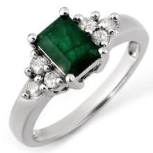 1.36 CTW Emerald & Diamond Ring 18K White Gold - REF-54H2W - 10855