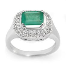 1.90 CTW Emerald & Diamond Ring 14K White Gold - REF-55A8N - 10620