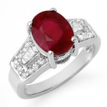 5.55 CTW Ruby & Diamond Ring 14K White Gold - REF-78K2R - 11702