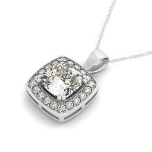 1.5 CTW Cushion Cut VS/SI Diamond Solitaire Halo Necklace 14K Gold - REF-425K3R - 30078