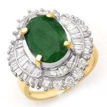 6.0 CTW Emerald & Diamond Ring 14K Yellow Gold - REF-152M7F - 13067