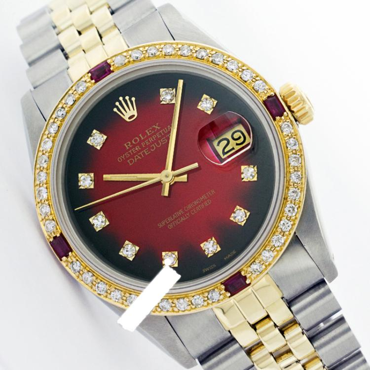 Rolex Men's Two Tone 14K Gold/SS, QuickSet, Diam Dial & Diam/Ruby Bezel - REF-474F5M