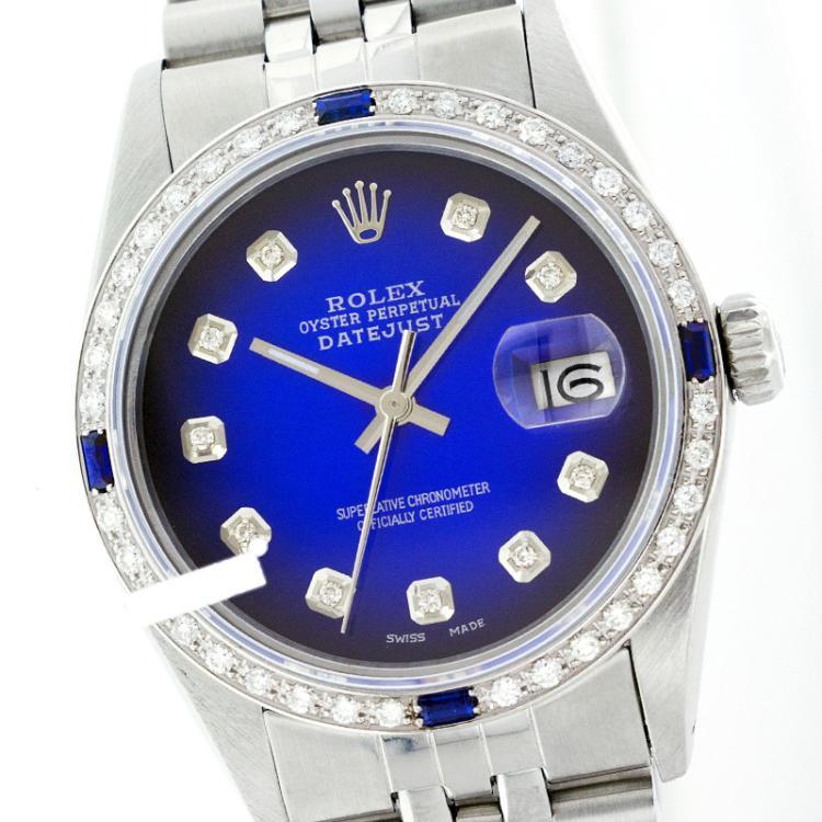Rolex Men's Stainless Steel, QuickSet, Diam Dial & Diam/Sapphire Bezel - REF-441Z8Y