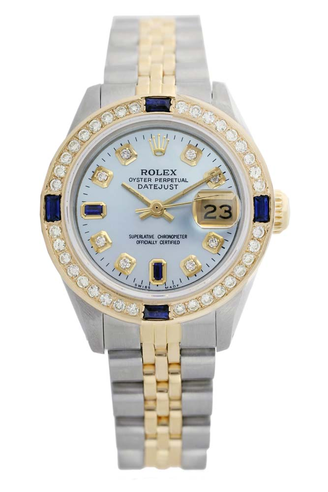 Rolex Men's Two Tone 14K Gold/SS, QuickSet, Diam/Sapphire Dial & Diam Bezel - REF-474Y5X