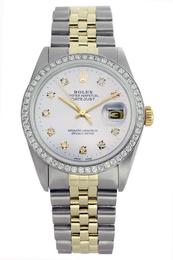 Rolex Men's Two Tone 14K Gold/SS, QuickSet, Diamond Dial & Diamond Bezel - REF-474Z5Y