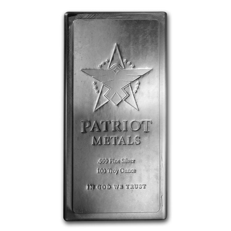One piece 100 oz 0.999 Fine Silver Bar Patriot Metals