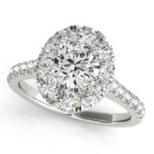 1.7 CTW Certified VS/SI Diamond Solitaire Halo Ring 18K White Gold - REF-247F3M - 26796