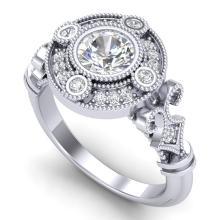 1.12 CTW VS/SI Diamond Art Deco Ring 18K White Gold - REF-250F2M - 36977