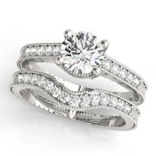 1.74 CTW Certified VS/SI Diamond Solitaire 2Pc Wedding Set Antique Gold - REF-515A8N - 31541