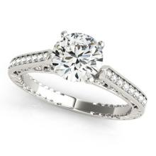 0.4 CTW Certified VS/SI Diamond Solitaire Antique Ring 18K White Gold - REF-71M6F - 27363