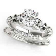 1.22 CTW Certified VS/SI Diamond Solitaire 2Pc Wedding Set Antique Gold - REF-375A5N - 31571