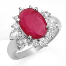 4.42 CTW Ruby & Diamond Ring 18K White Gold - REF-90A5N - 13281