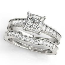 1.43 CTW Certified VS/SI Princess Diamond Wedding Antique 14K Gold - REF-441A3N - 31421