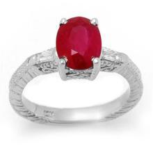 3.70 CTW Ruby & Diamond Ring 14K White Gold - REF-63W8H - 11683