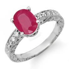 3.28 CTW Ruby & Diamond Ring 14K White Gold - REF-49F6M - 13735