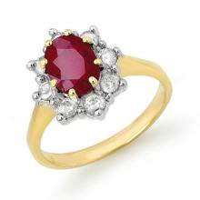 2.50 CTW Ruby & Diamond Ring 14K Yellow Gold - REF-70N9A - 13194