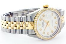 Rolex Men's Two Tone 14K Gold/SS, QuickSet, Diamond Dial & Diamond Bezel - REF-474Y5X