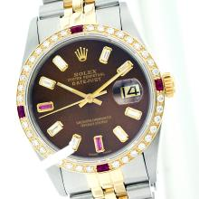 Rolex Men's Two Tone 14K Gold/SS, QuickSet, Diam/Ruby Dial & Diam/Ruby Bezel - REF-474M5H