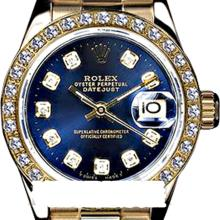 Rolex Men's 18K Yellow President, QuickSet, Diamond Dial & Diamond Bezel - REF-1243W6K